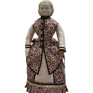 "1880's Style 2 piece Day Dress for a 23"" inch Doll"