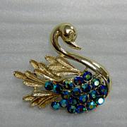 Vintage Figural Swan with Teal Green AB Rhinestones