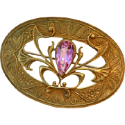 Victorian Sash Brooch with Large Pink Stone