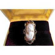 Art Nouveau 14K Shell Cameo Ring - Red Tag Sale Item