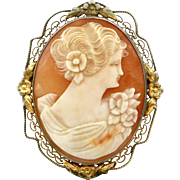 Vintage 1940s Cameo Sterling Filigree Brooch