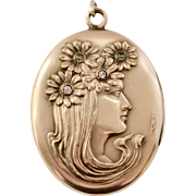 Art Nouveau Gold Fill Large Oval Locket Lady with Flowers