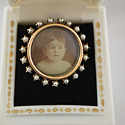 Antique Victorian 10k Gold Photo Locket Brooch with Seed Pearls and Gold Fill Chain
