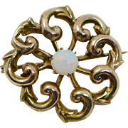 Antique Victorian Gold Fill and Fiery Opal Brooch