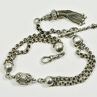 Victorian Sterling Silver Albertina Bracelet with Tassel and T Bar, 1880s Antique Watch Chain/Bracelet