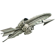 Victorian Sterling Feather, Arrow and Bow Brooch, 1880s Brooch