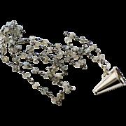 Vintage Sterling 1960s Megaphone Charm and Labradorite Sterling Necklace