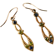 Antique Victorian Gold Fill Dangle Earrings with Amethyst and Peridot Paste Stones