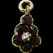 Victorian Garnet Vermeil Petite Pendant Charm, Victorian Fob, Antique Charm