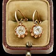 Victorian 14K Gold Dangling Paste Buttercup Earrings