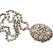 Victorian Sterling Floral Repousse Locket and Chain