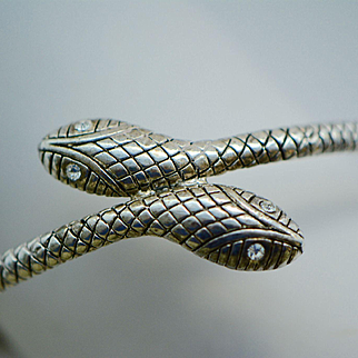 Art Deco Silver Metal Snake Bracelet with Clear Crystal Eyes