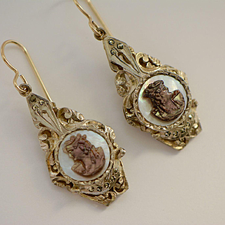 Art Deco Cameo, Marcasite and  Mother of Pearl Earrings