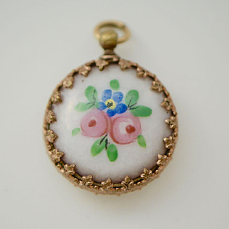 Victorian Gold Fill Hand Painted Faux Watch Fob
