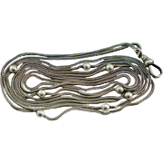 Victorian Sterling Long Snake and Ball Muff Chain