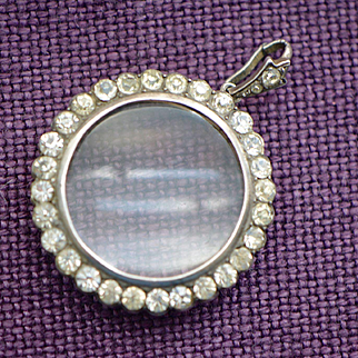 Victorian Silver Plate and Clear Paste Photo Locket