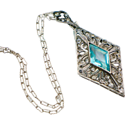 Art Deco Sterling Diamond Shaped Pendant Necklace with Turquoise Glass Stone
