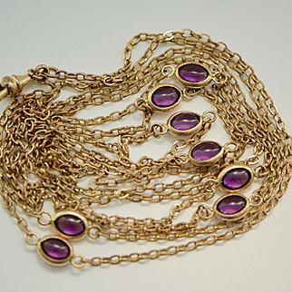 Antique Late Edwardian Gold Fill Long Guard Chain with Amethyst Paste Stones