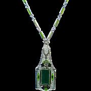 Art Deco Green Enamel Rhodium Plated  Necklace