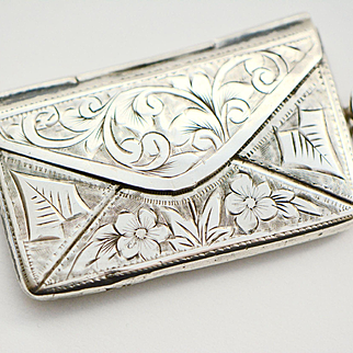 Chester, England 1907 Edwardian Sterling Silver Double Stamp Holder Case