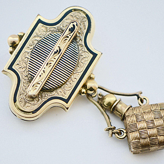 Victorian Gold Fill Taille d'Epargne Perfume Brooch