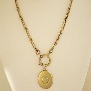 Antique Edwardian Oval Gold Fill Locket with Horseshoe Design and Watch Chain Necklace