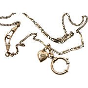Victorian Gold Fill Watch Chain Necklace With Tiny Heart
