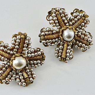 Vintage Miriam Haskell Large Faux Baroque Pearl Earrings