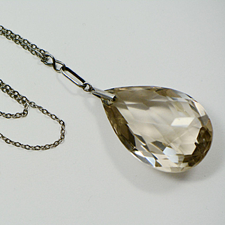 Art Deco 1920s Citrine Glass Pear Shaped Pendant Sterling Necklace