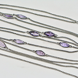 Art Deco Sterling Amethyst Glass Long Muff Guard Watch Chain Necklace