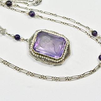 Edwardian 14k Amethyst Intaglio Pearl Pendant and Chain