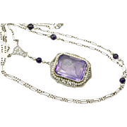 Edwardian 14k Amethyst Intaglio Pearl Pendant and Chain