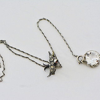 Unusual Victorian French Paste Sterling Silver Necklace with Bird and Paste Pendant