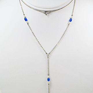 "Edwardian 1909 Sterling Lorgnette ""Y"" Chain with Blue Stones and Faux Pearls"