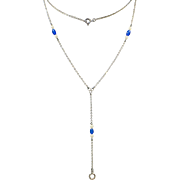 """Edwardian 1909 Sterling Lorgnette """"Y"""" Chain with Blue Stones and Faux Pearls"""