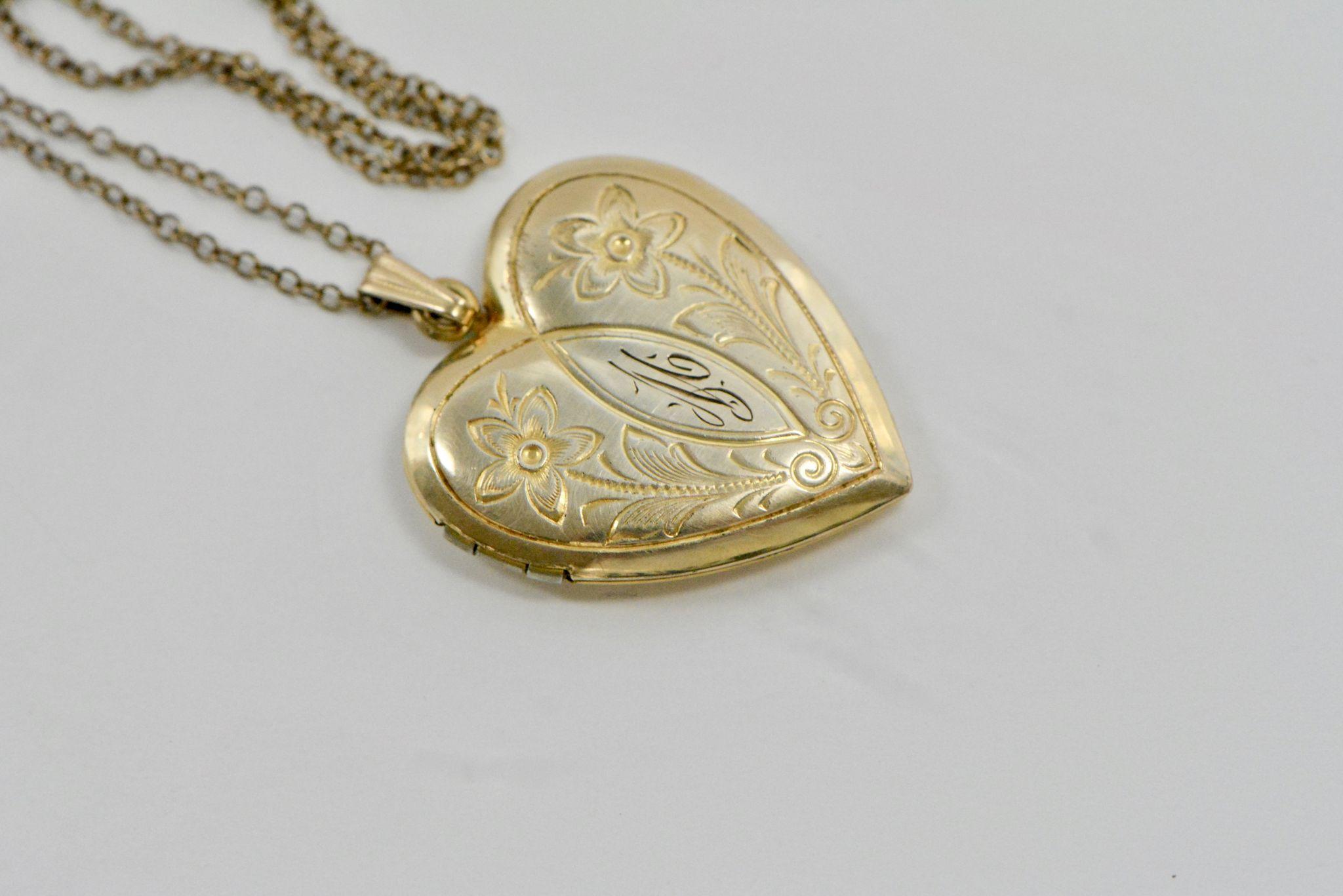 vintage 1940s engraved heart locket necklace from. Black Bedroom Furniture Sets. Home Design Ideas