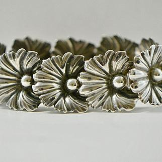 John Lauritzen Denmark Sterling Flower Bracelet 1950s