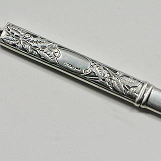 Antique Art Nouveau Sterling Pencil Pendant, Holly Leaves and Berries, A.W. Faber Pencil, Chatelaine