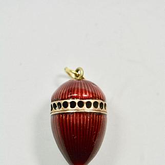 Antique Victorian Perfume Guilloche Enamel Egg Vinaigrette