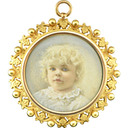 Edwardian 14k Gold Krementz Portrait Brooch/Pendant with Ornate Border