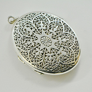 Antique Victorian Sterling Silver Locket, Large Oval Locket Pendant, Etched Locket