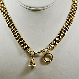 Antique Victorian Mesh Book Chain Necklace, Gold Fill Necklace, 1800s, Bridal, Wedding