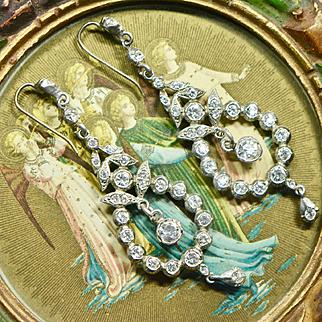 Art Deco Sterling Long Dangling Clear Paste Earrings, Wedding, 1920s Bridal