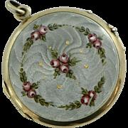 Antique Edwardian Double-Sided Large Enamel Guilloche Round Locket