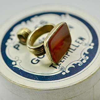 Large Victorian Gold Fill Carnelian Fob, Watch Fob, Charm, Pendant