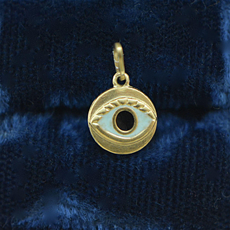 Victorian 14K Gold Enamel Evil Eye Charm Pendant, Victorian Charm