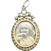 Edwardian Sterling Paste Large Oval Pendant Double Sided Photo Locket
