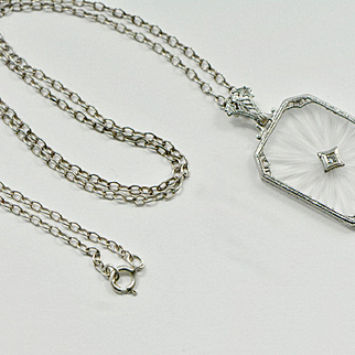 Art Deco Sterling Silver Large Camphor Glass Necklace, Sunburst Necklace, 1920s Necklace, Wedding, Bridal