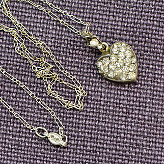 Victorian Silver Heart Shaped Photo Locket Necklace with Clear Paste Stones, Wedding, Bridal Jewelry