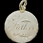 Victorian Love Token 'Father', 1876 Coin Token, Victorian Charm